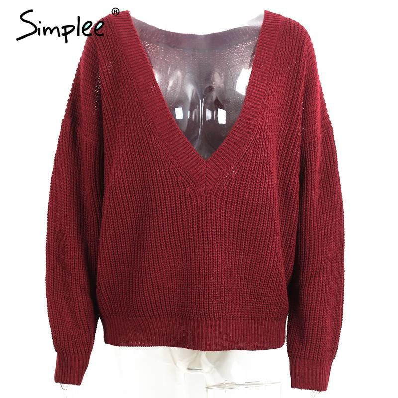 Simplee Deep V neck loose pullover women Bassic casual winter knittwear Sexy elastic autumn sweater Soft jumpers outwear