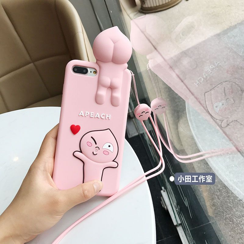 outlet store aee5d 7729f Cute cartoon Kakao friends Apeach Strap Soft case cover for iphone X ...
