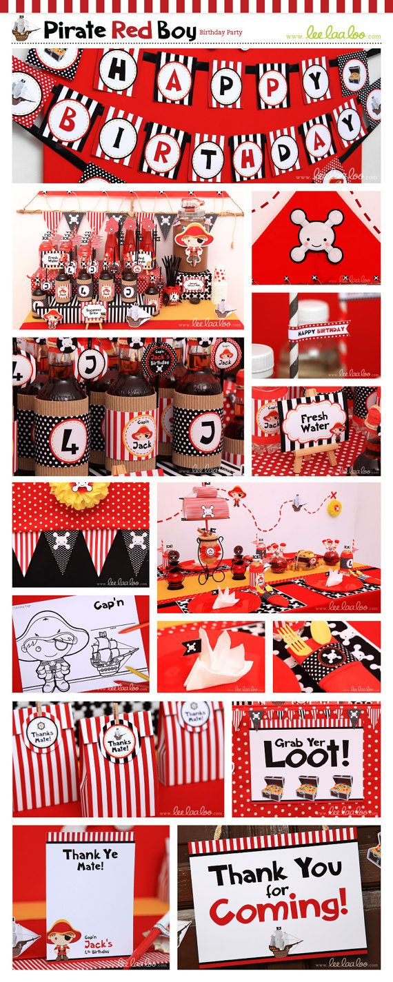 Pirate Red Boy Birthday Party Theme ♥  Designs  Party Styling by LeeLaaLoo ♥  Shop Here: https://www.etsy.com/shop/LeeLaaLoo/search?search_query=b6order=date_descview_type=galleryref=shop_search