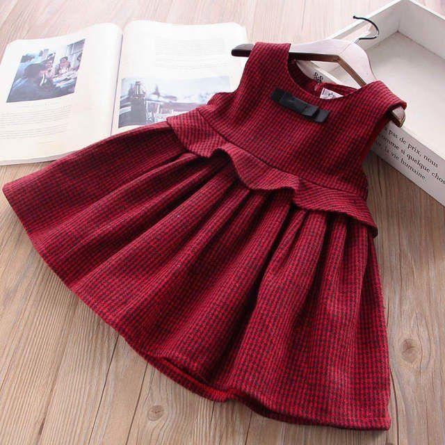 Winter Baby Mädchen Party Kleider für Mädchen Plaid Kleid für Mädchen Prinzessin Kleid ärmell...