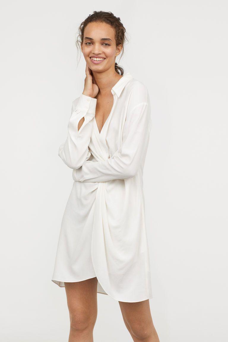 455b67f3cb6f Kort kjole i viskoseblanding - Hvid - DAME