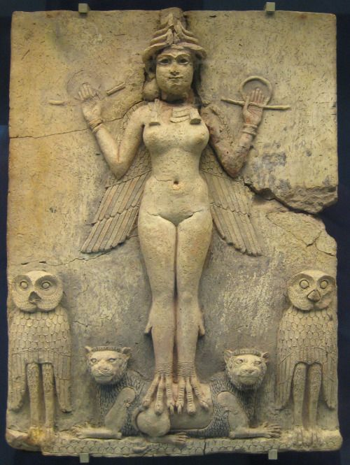"""Famous relief from the Old Babylonian period (now in the British museum) called the """"Burney relief"""" or """"Queen of the Night relief"""". The depicted figure could be an aspect of the goddess Ishtar, Mesopotamian goddess of sexual love and war. However, her bird-feet and accompanying owls have suggested to some a connection with Lilitu (called Lilith in the Bible), though seemingly not the usual demonic Lilitu. 19th C. BC - 18th C. BC"""