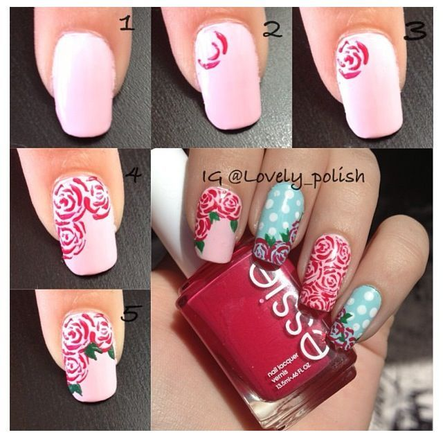 Rose nail art tutorial | Rose nail art, Rose nails and Vintage nails