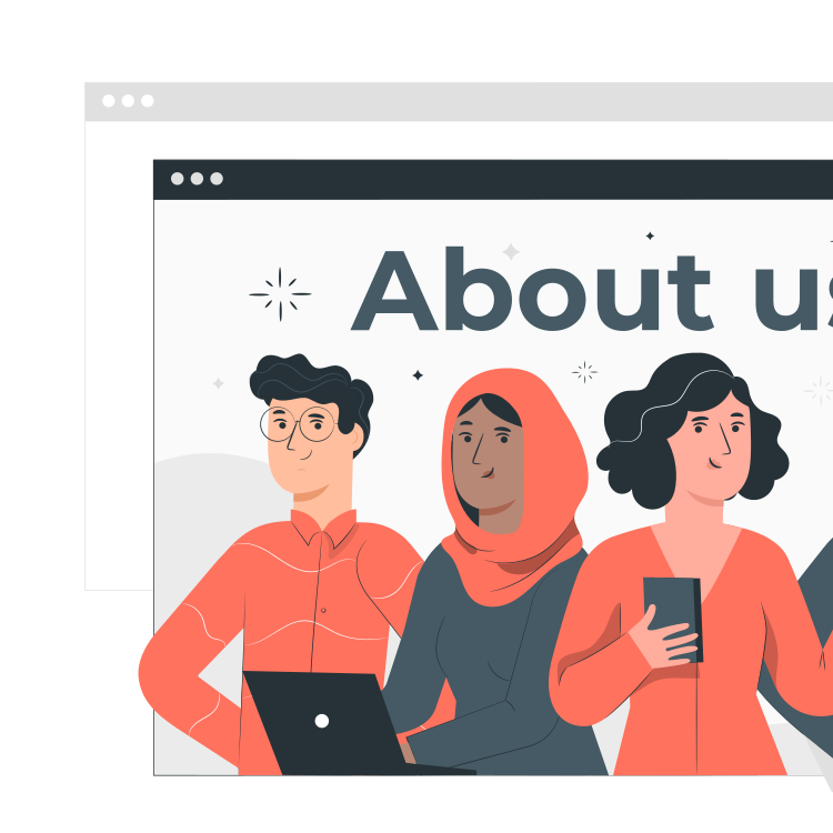 About Us Page By Freepik Stories Svg Png Illustration Business Marketing Information Organization Website Company In 2020 About Us Page This Is Us Illustration