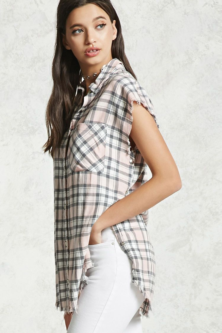 Flannel outfits with leggings  Frayed Plaid Buttoned Shirt  FOREVER   Pinterest  Plaid st