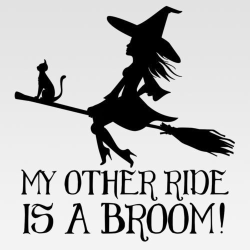 My Other Ride Is A Broom Witch Lady Sticker Acura Honda Car Truck Decal Wiccan Witch Sticker Broom Witch Silhouette