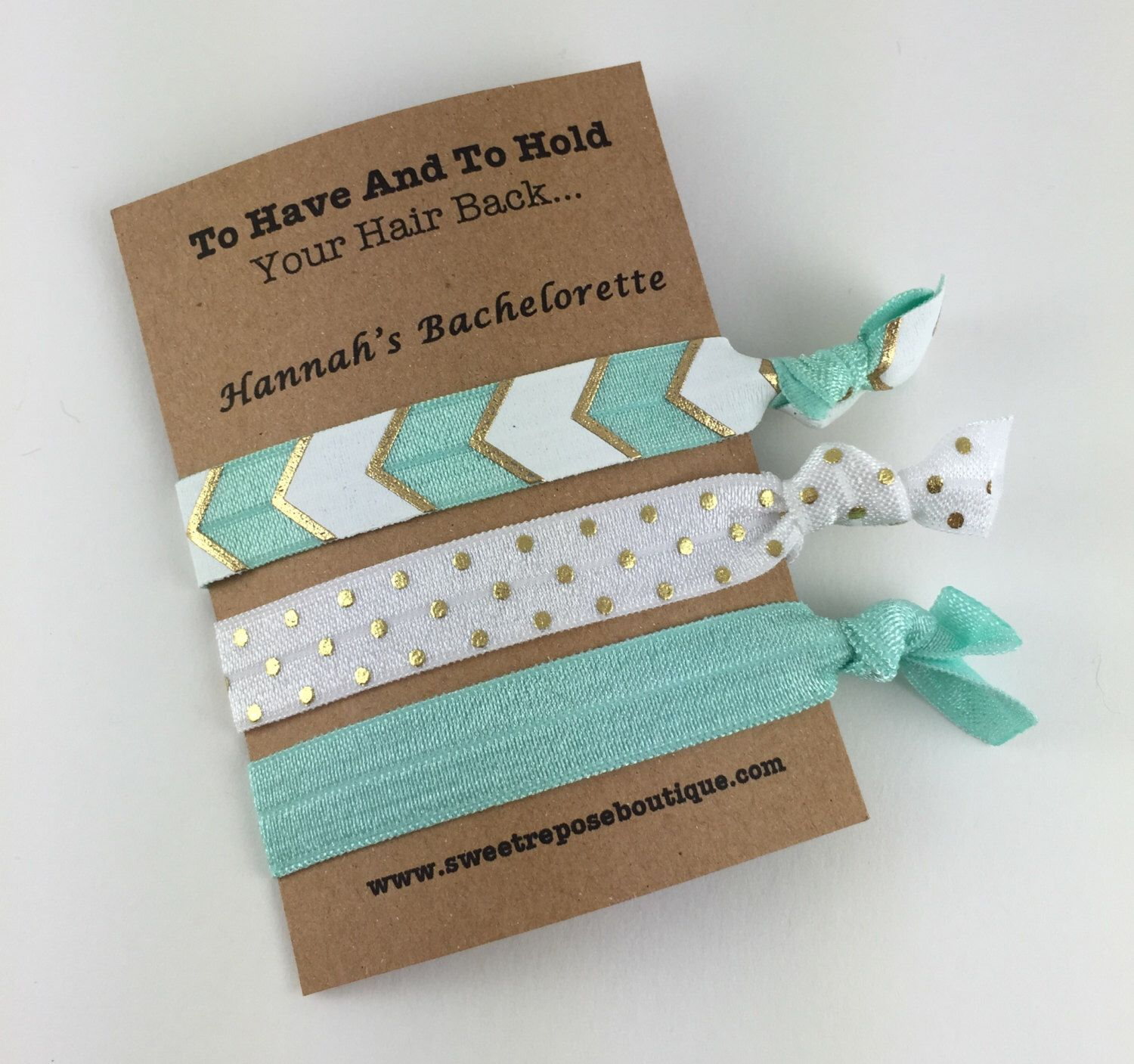 Bachelorette party ideas, personalized favors, bachelorette party, bachelorette party favors, party favors, hair tie favors, FOE hair ties by SweetReposeBoutique on Etsy https://www.etsy.com/listing/226944854/bachelorette-party-ideas-personalized