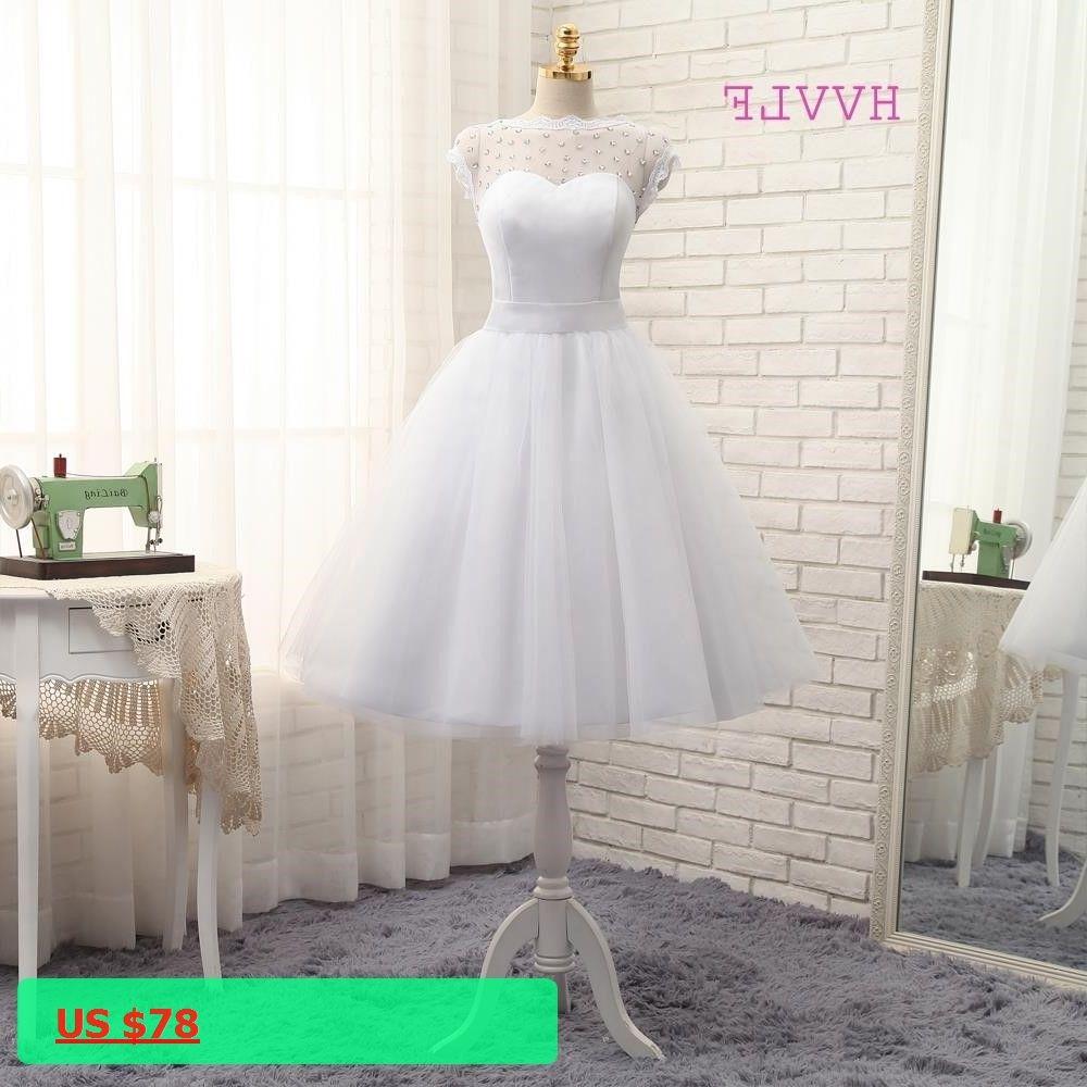Vestido de noiva short wedding dresses aline tea length tulle