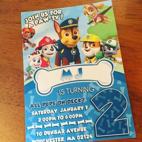 Paw Patrol Birthday Invitations - Paw patrol birthday, Paw patrol birthday invitations, Paw patrol invitations, Paw patrol birthday party, Birthday invitations, Happy birthday baby -     WHAT DOES YOUR INVITATION INCLUDE     5x7 Invitation on PREMIUM card stock A10 White envelope or matching envelope with FREE digital return addressing   All designs can be cus