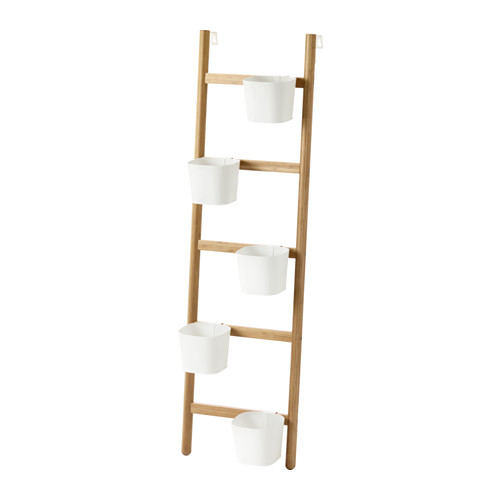 SATSUMAS Plant stand with 5 plant pots, bamboo, white | Decorative ...
