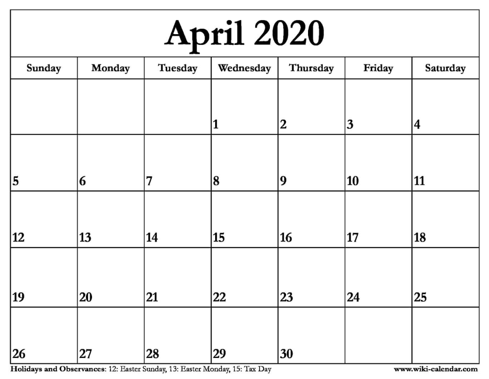 Free Printable April 2020 Calendars Calendar Printables Monthly Calendar Printable Calendar