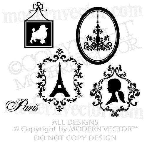 Paris Bathroom Wall Art: PARIS THEME Vinyl Wall Decals Eiffel Tower, Poodle