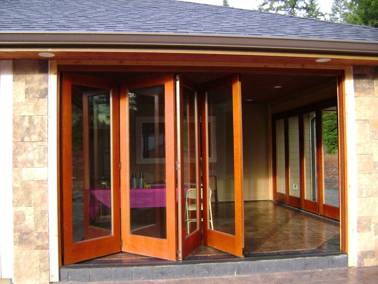Exterior Tropical Brown Varnished Teak Wood Bi Folding Patio Doors