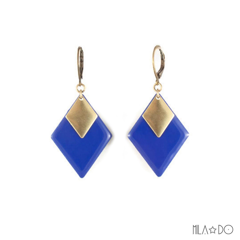 Boucles d'oreilles Tina bleu royal || Marquises émail et laiton