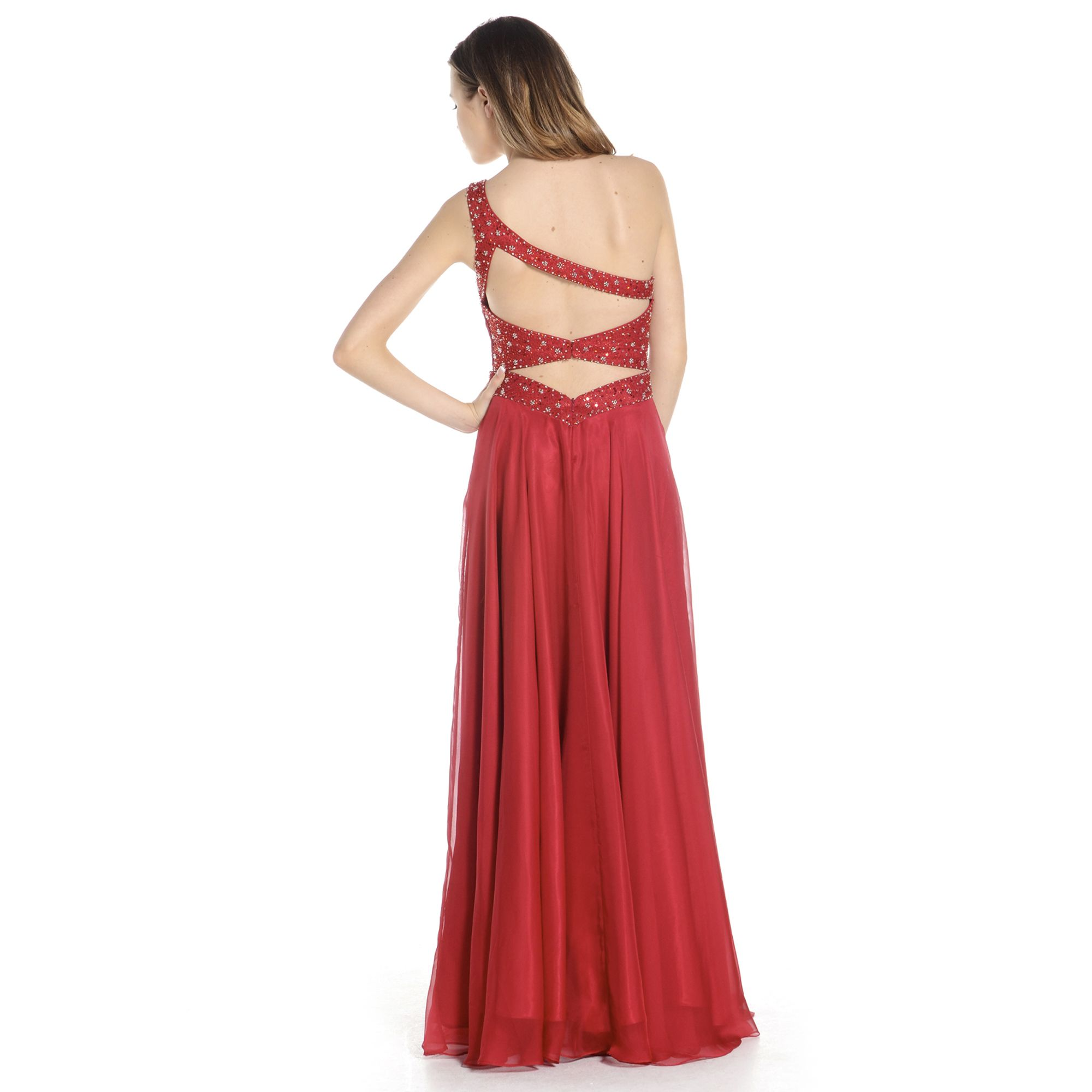 A beautiful backless grecian style gown with diamante and sparkle