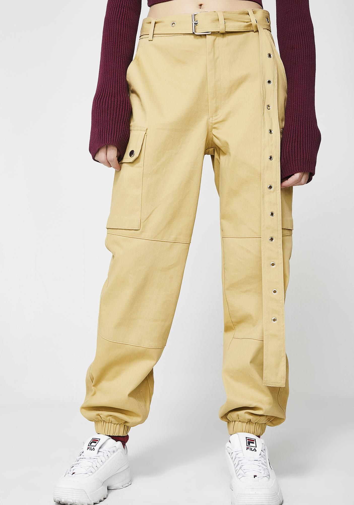 1df07a2b Don't Test Me Cargo Pants cuz they don't wanna mess with ya. These dope af  yellowish tan cargo pants have a comfy fit, a belted waist, and banded  ankles.