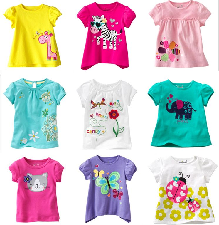 Children Infant Kids Girl T-shirt Tops Blouse Short Sleeve Embroidery Shirts Tee