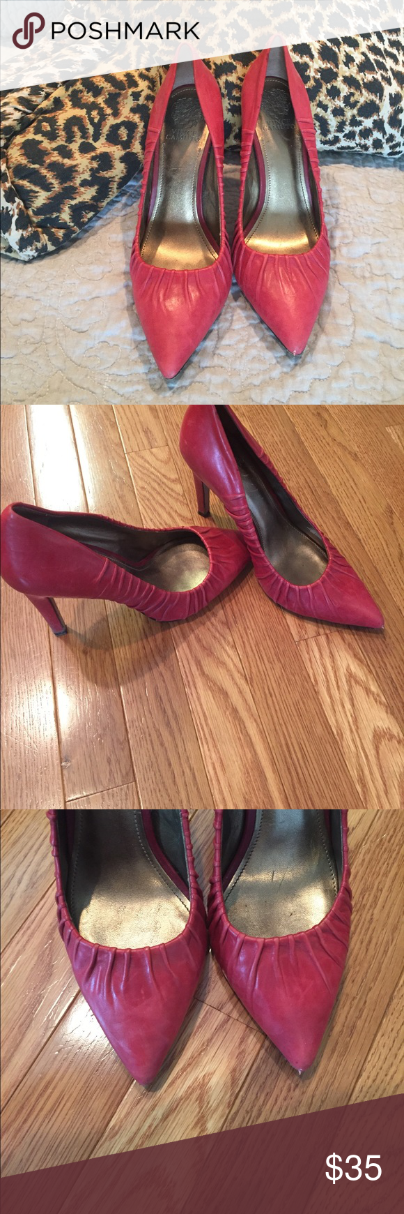 Gorgeous red pumps These pumps are amazing! I don't wear them nearly enough. They are in great shape! Vince Camuto Shoes Heels