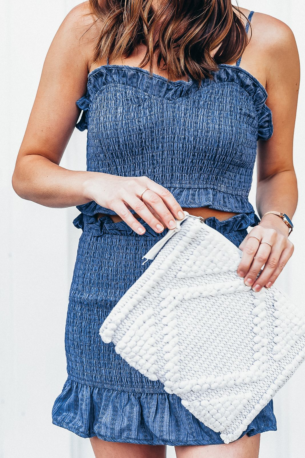 Vici Blue Ruffle Crop Top and Skirt Set | F A S H I O N ...
