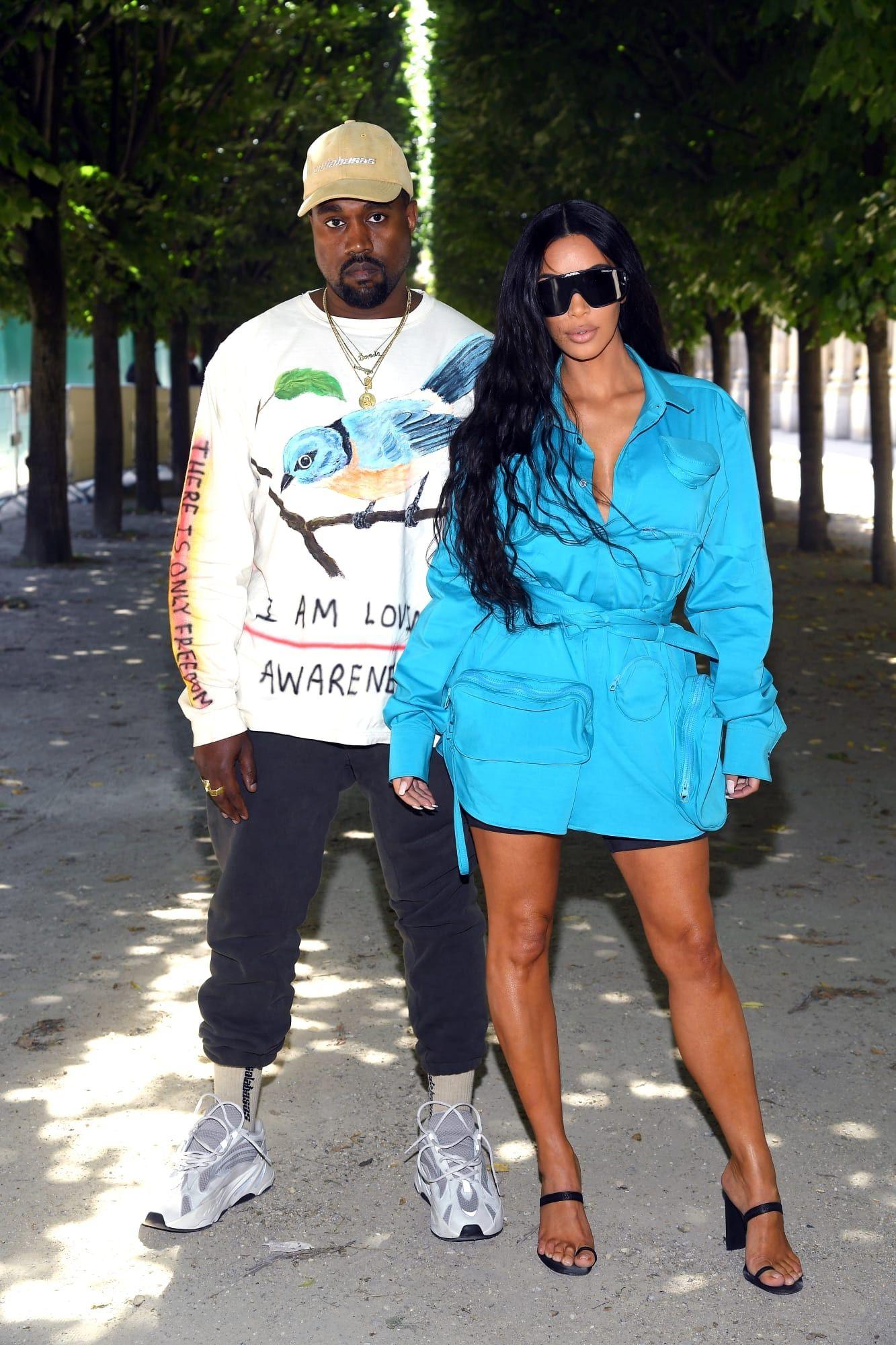 Kim Kardashian and Kanye West at Louis Vuitton s Spring 2019 menswear show.   KimKardashian  KanyeWest  LouisVuitton a3a5ebad3