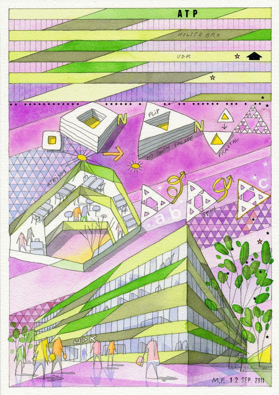 Cebra Udk Holstebro Administration Building Architecture Drawing Architecture Illustration Architecture Sketch