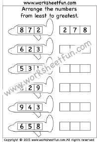 Least to Greatest - 4 Worksheets   Kindergarten Worksheets ...