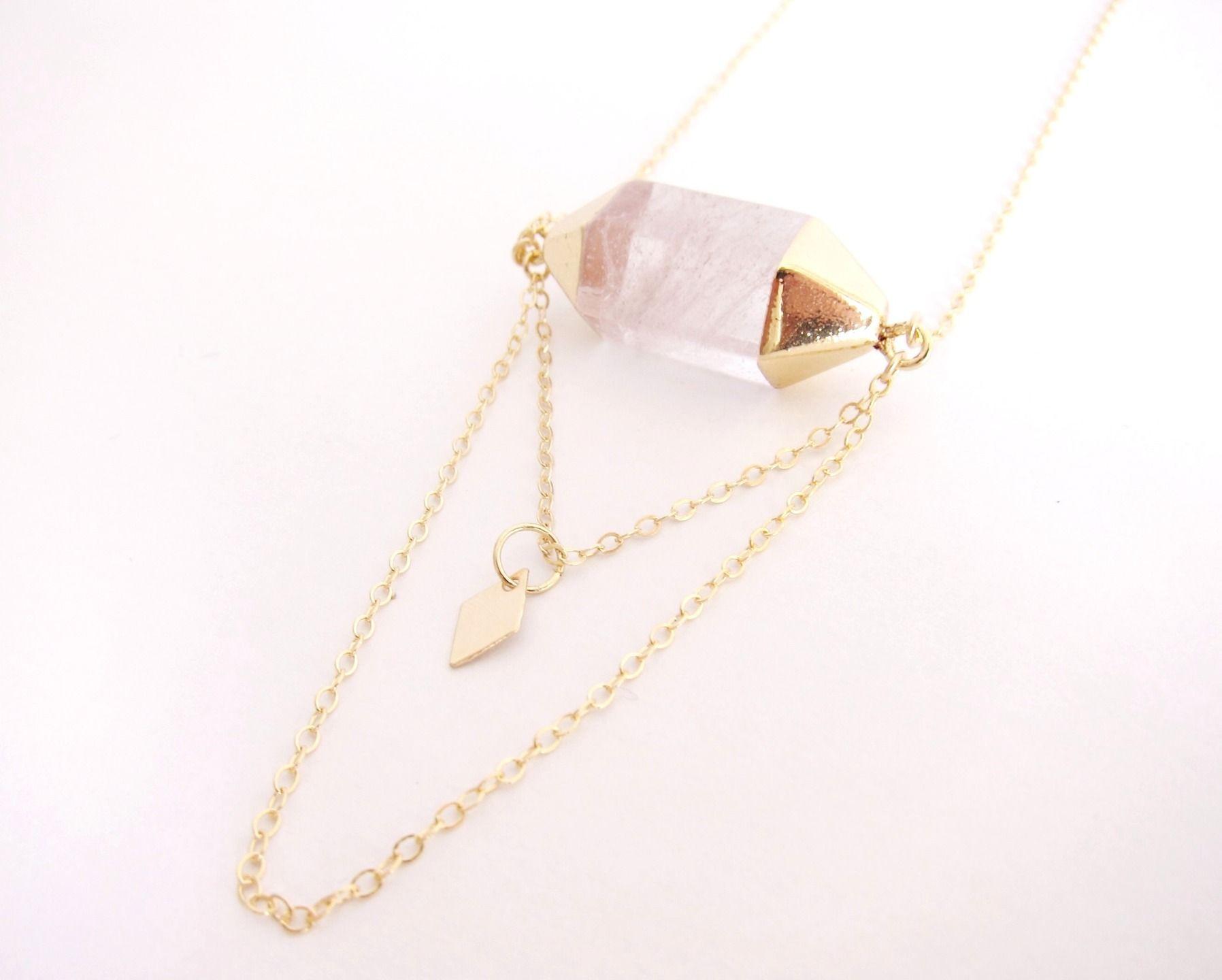 Sautoir Nuuk double pointe de quartz et losange : Collier par by-opaline