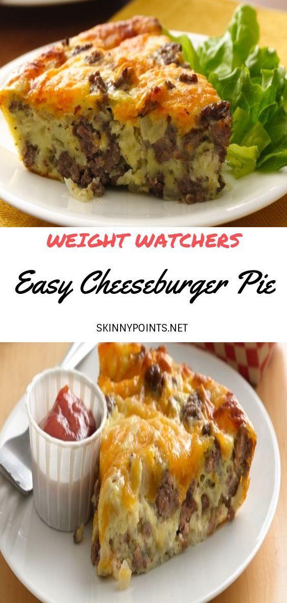 Easy Cheeseburger Pie Weight Watcher Ground Beef Recipe Ground Beef Recipes Healthy Healthy Beef Recipes