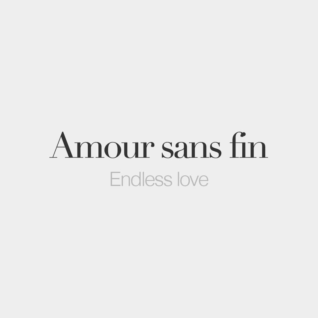 Amour sans fin (masculine word)   Endless love   /a.muʁ sɑ̃ fɛ̃/