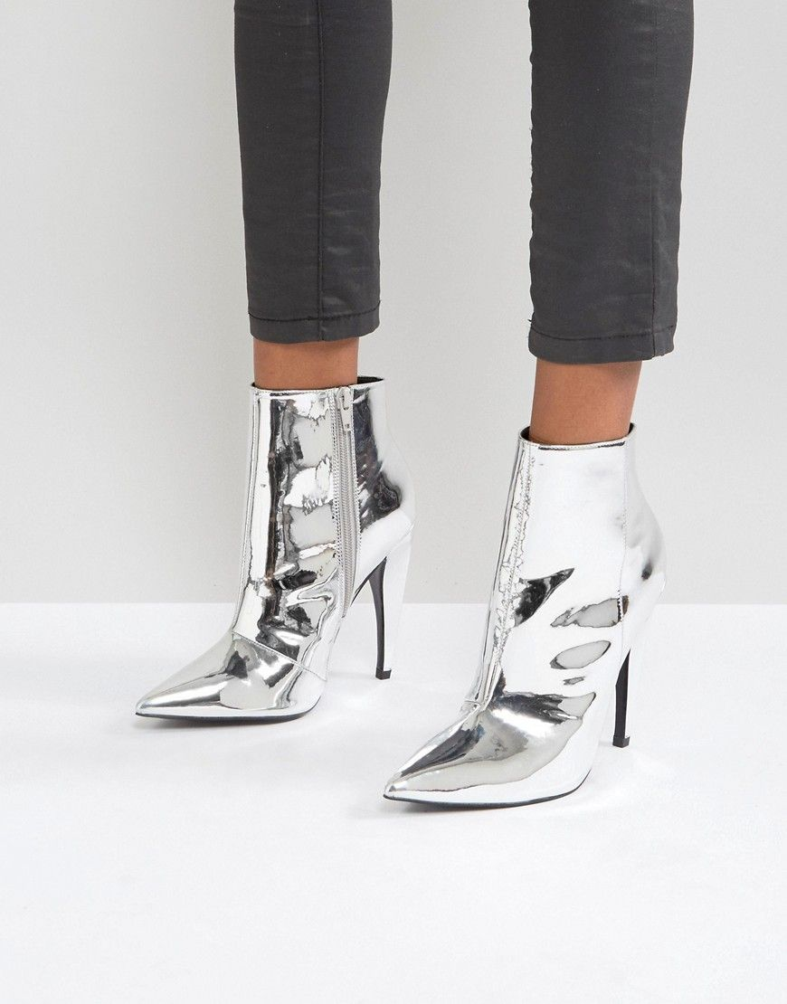 15a12990e5d6 ASOS EVANGELINA Pointed Ankle Boots - Silver
