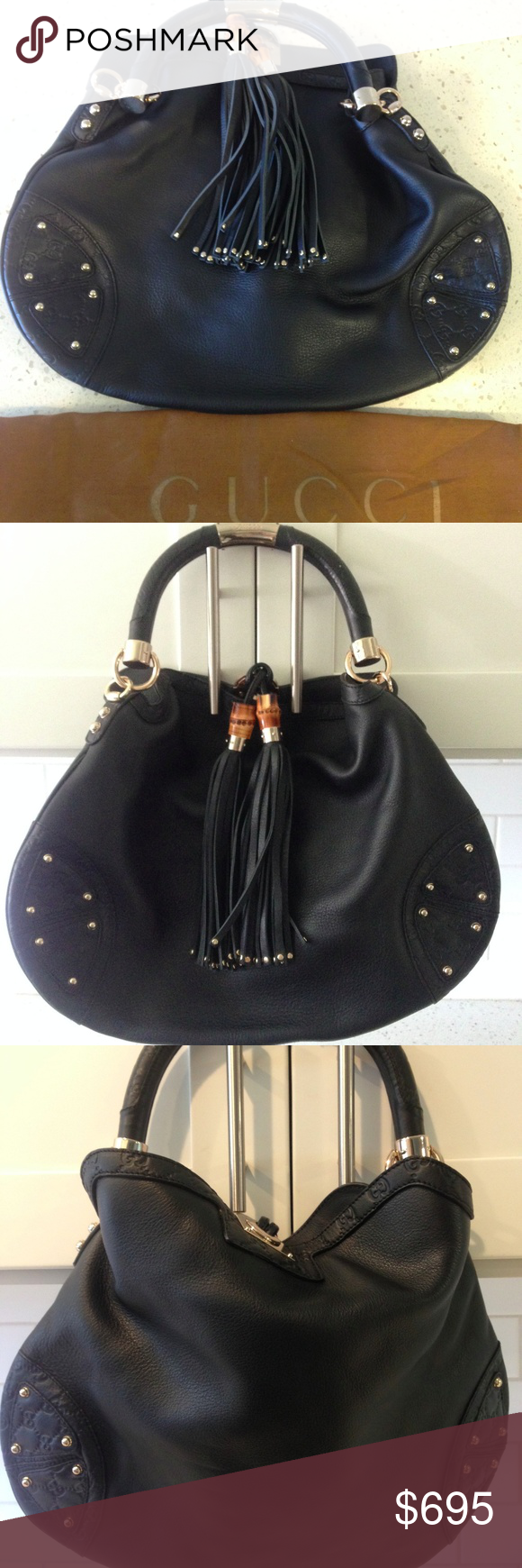 0b75d54a90dcb0 Gucci Babouska Indy Bamboo Tassel Hobo Bag Black L Crafted in monogram  embossed black leather, it features black leather tassels with metal bamboo  beads, ...