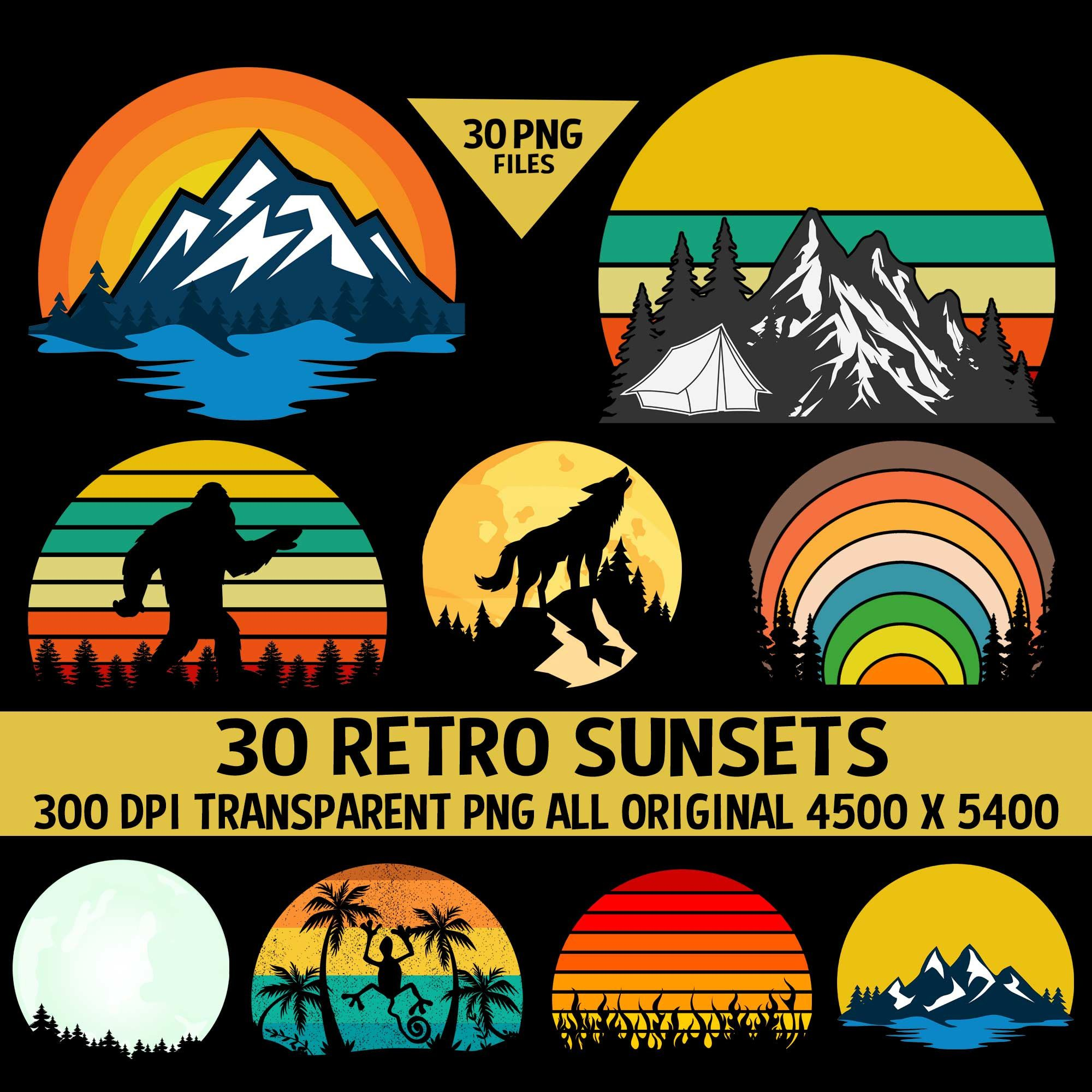 Retro Vintage Sunsets Pack 3 30 Sunset Clipart Sunrise Moons Etsy Wolf Howling At Moon Retro Retro Vintage