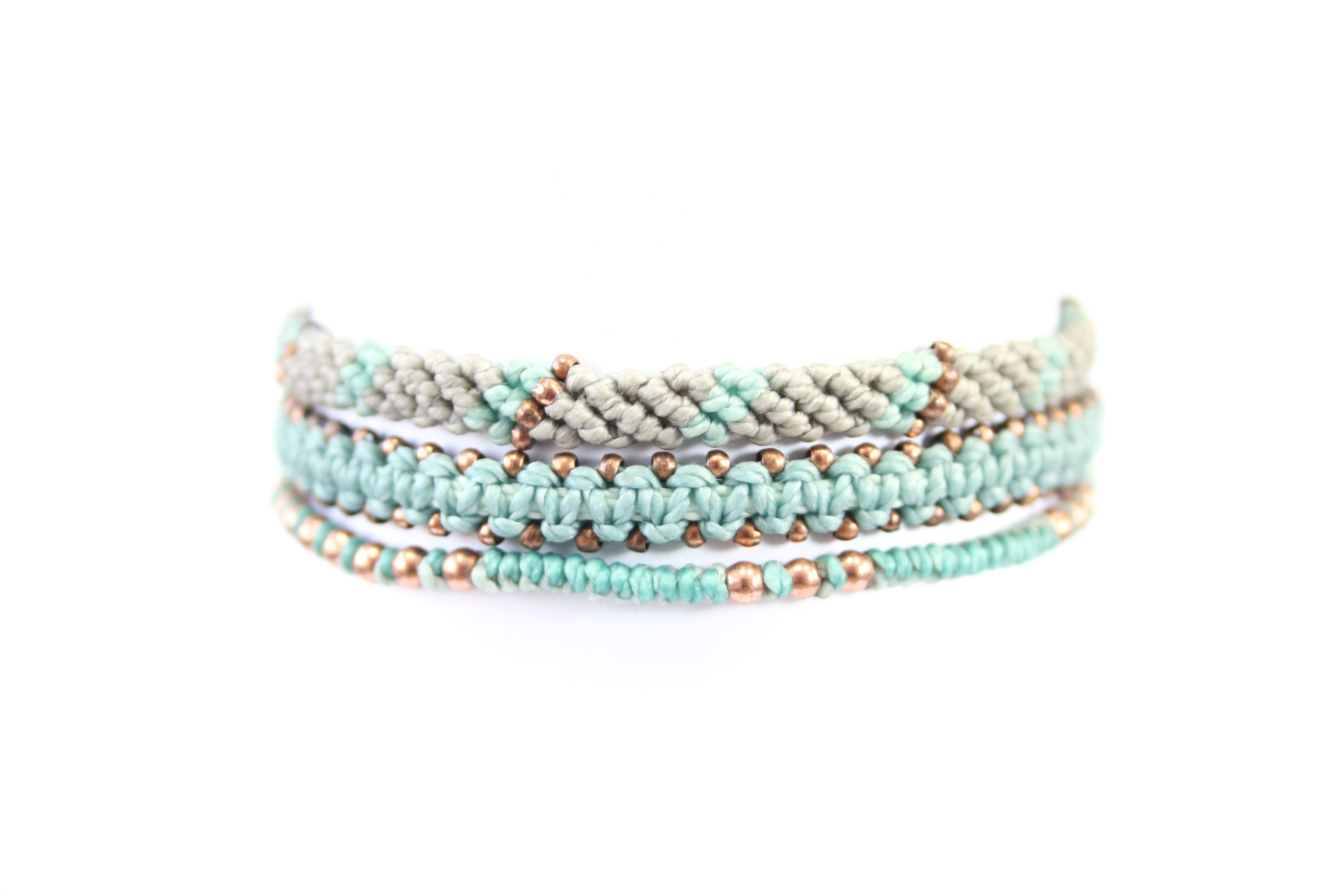 Wakami - 3 bracelets, mint color. Ethically handmade in Guatemala.