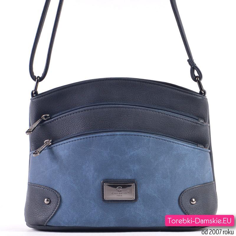 21f6e6dc918d6 Granatowo - ciemnoniebieska torebka na długim pasku - efektowny model z 3  kieszeniami zewnętrznymi