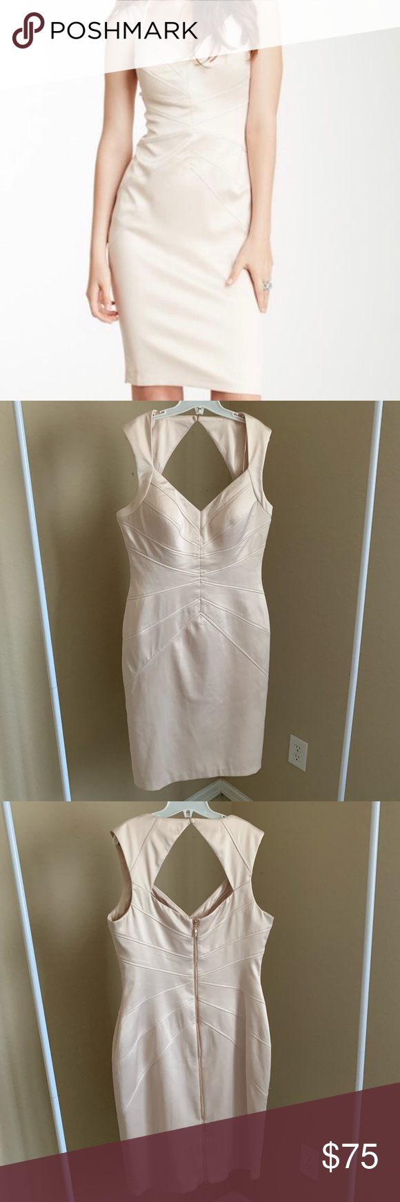 09edcc09712 Jessica Simpson midi champagne dress size 8 Jessica Simpson soft body con  champagne dress. Exposed