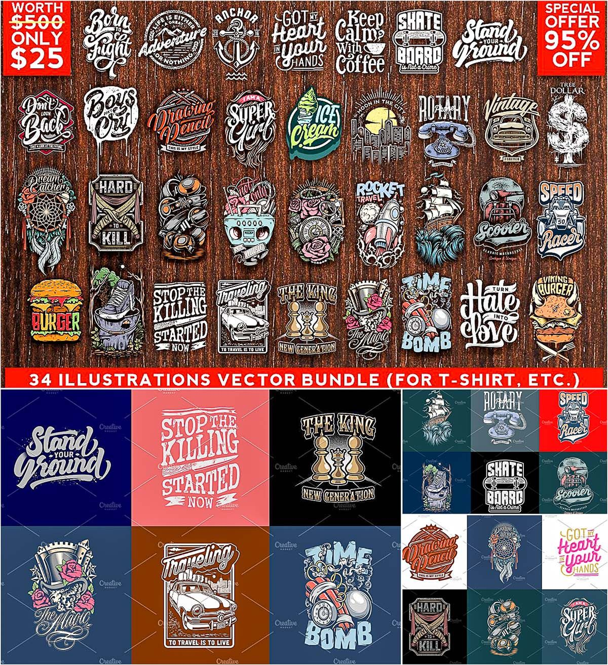 Illustrations Vector Bundle Free Download Free Tshirt Design Free Shirt Design Free T Shirt Design
