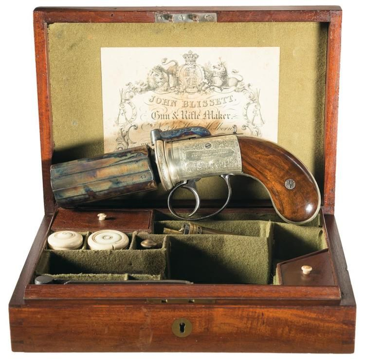 "Cased and Engraved John Blissett ""Improved Revolving Pistol"" Percussion Pepperbox with Accessories"