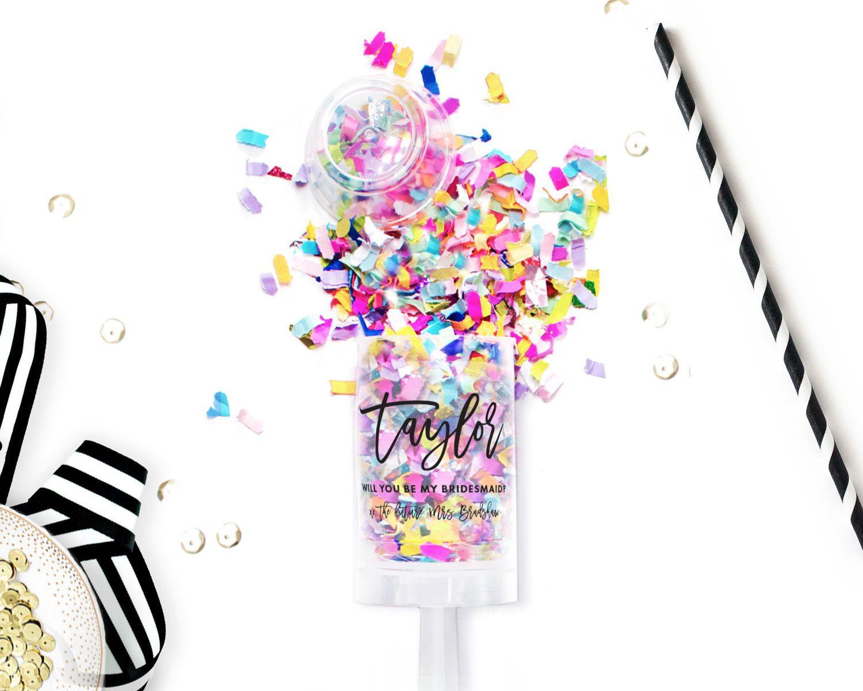 Bachelorette Party Confetti Popper With Images Push Pop Confetti Bridesmaid Proposal Confetti Party