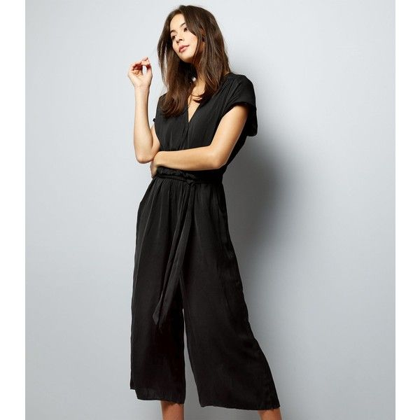 aa24ab04555 New Look Black Wrap Front Culotte Jumpsuit (110 SAR) ❤ liked on Polyvore  featuring jumpsuits