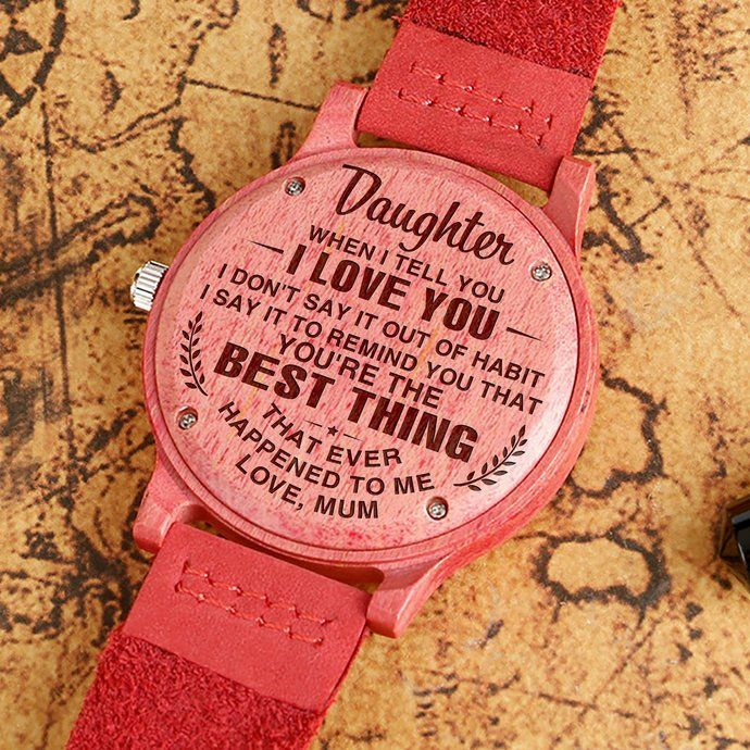 Great Gift For Daughter Engraving Wooden Watch To My Daughter by HeavenKP, $84.99 USD