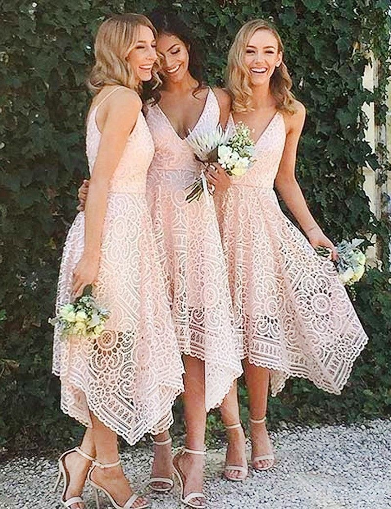 Asymmetrical deep v neck tea length pink lace bridesmaidprom dress