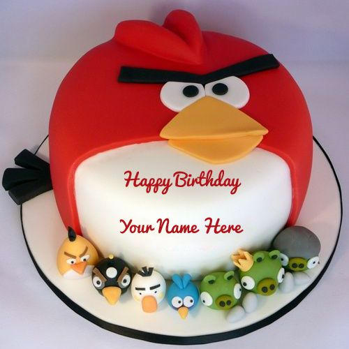 Cute Angry Bird Cake For Birthday Wishes With Your NameKids Name CakeAngry Game Theme Photo NameFunny Face Bday Kids