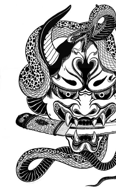 snake on hannnya mask tatoo pinterest tatouage tatouage japonaise et tatoo. Black Bedroom Furniture Sets. Home Design Ideas