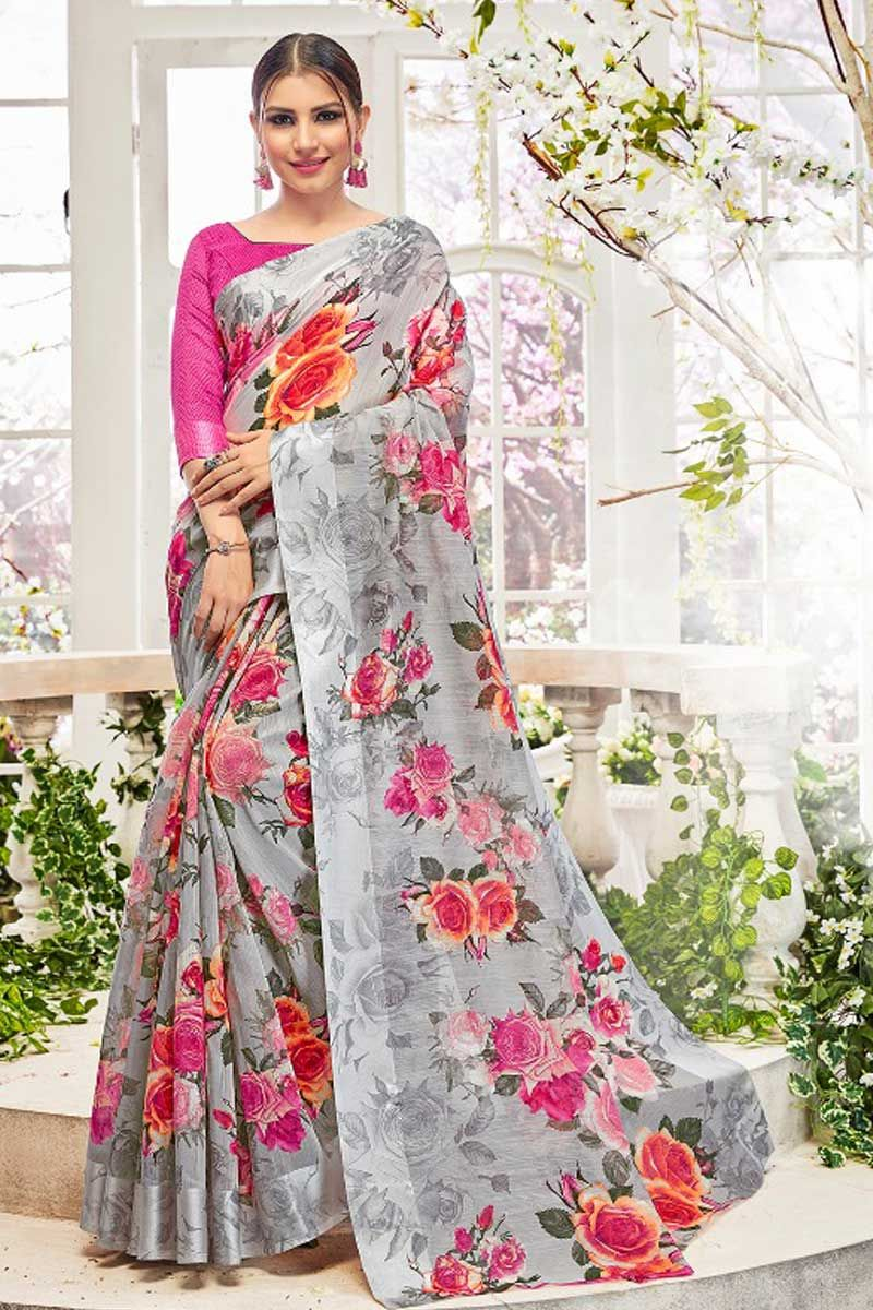 Grey Rose Flower Print Linen Cotton Casual Wear Saree With Blouse Material 2837 18297 Catalog No 4690 Www Lkfabk Saree Designs Party Wear Sarees Cotton Saree
