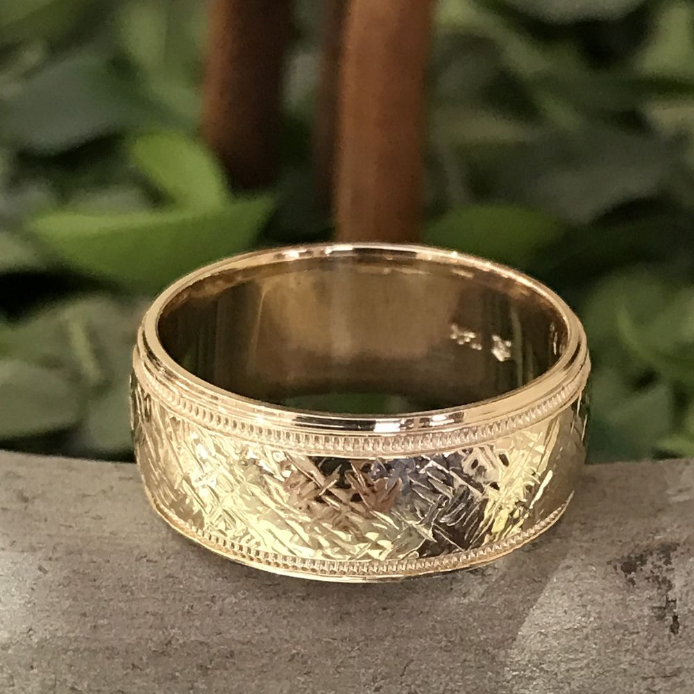 10k yellow gold mens comfortfit wedding 8mm band with