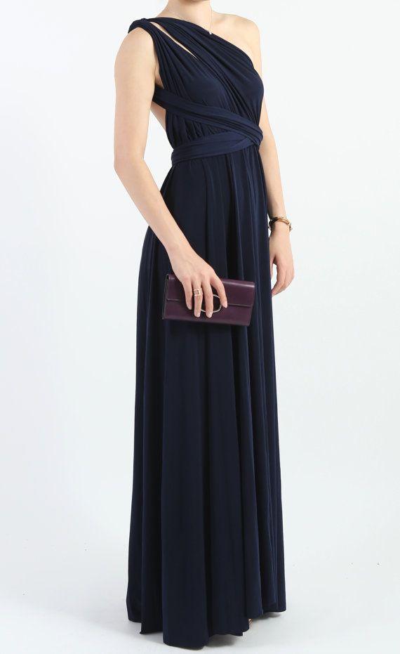 0c018057dd Floor Length LONG Ball Gown Maxi Infinity Dress Convertible Navy Bridesmaid  Dresses