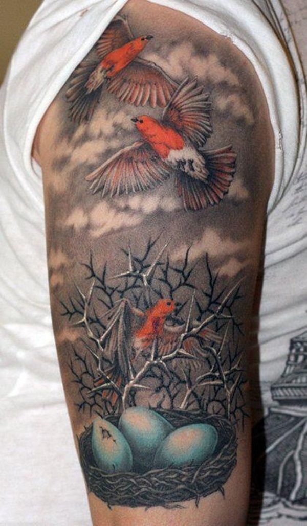 Bird Half Sleeves Watercolor Tattoo With Flowers: Robin Bird Sleeve Tattoo - Great Detail