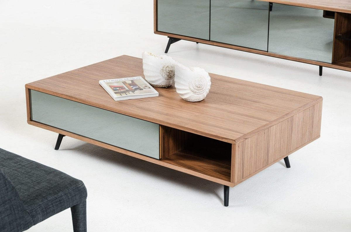 Charming Modrest Kennedy Modern Walnut Coffee Table