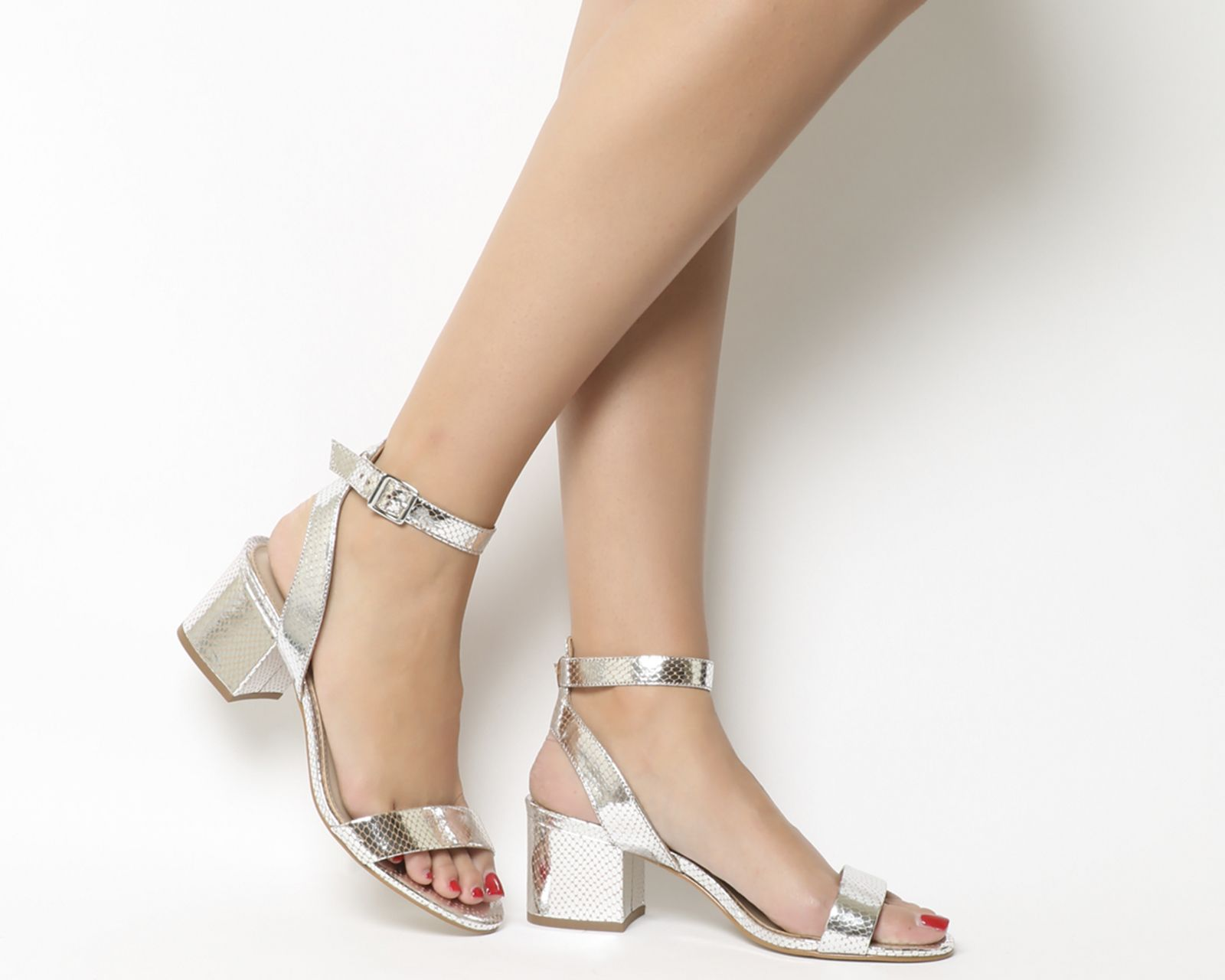 1a032351541 Office Make Up Sandals Silver Snake Leather - Mid Heels