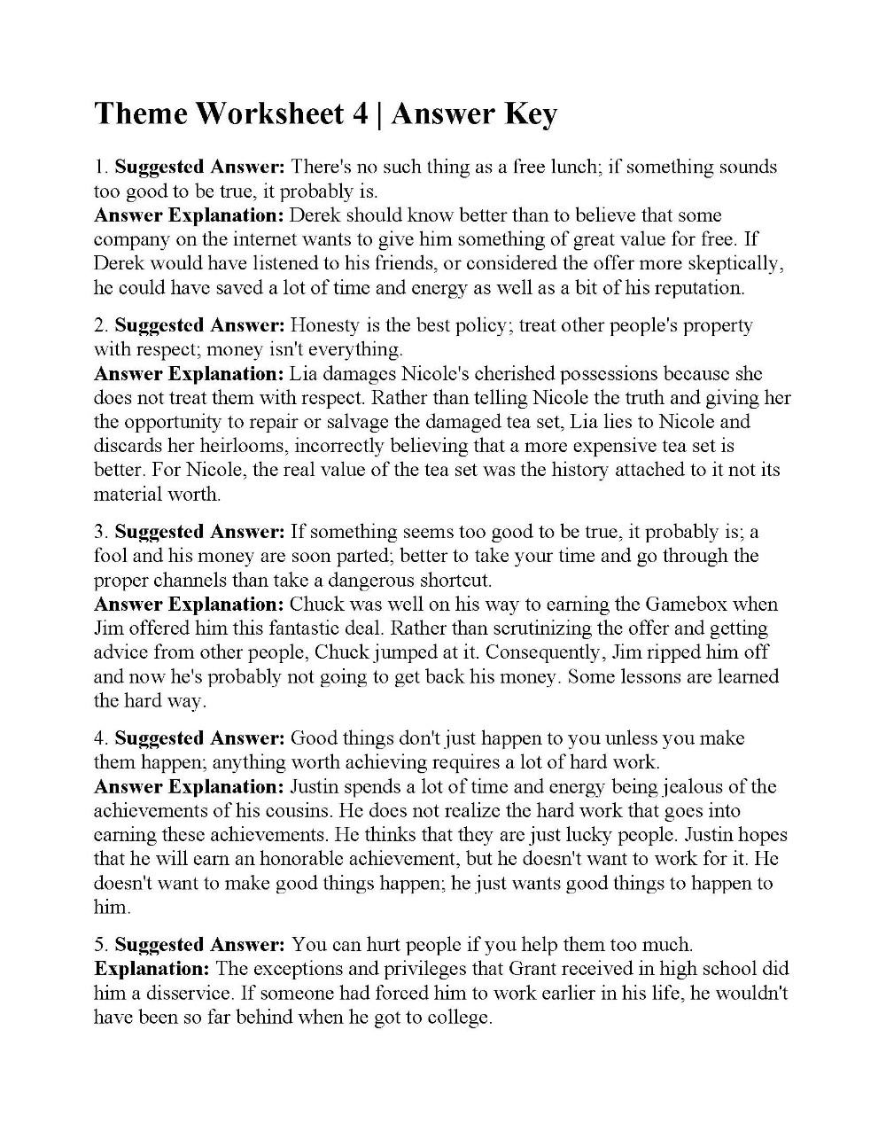 Theme Worksheet 4   Answers   Kindergarten worksheets [ 1294 x 1000 Pixel ]
